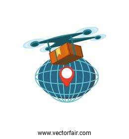 drone technology with box carton and sphere planet