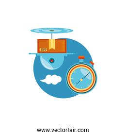 drone technology with box carton and chronometer