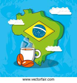 map of brazil with culture icons