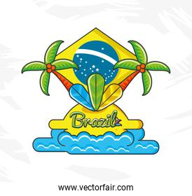 flag of brazil with culture icons