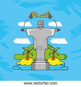 corcovade christ with brazil culture icons