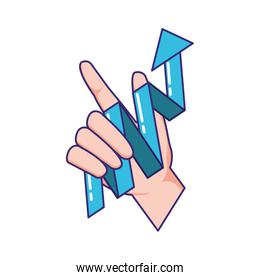 hand with statistics arrow