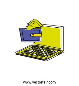 laptop computer with wallet money