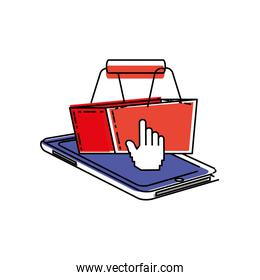 smartphone device with shopping basket