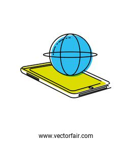smartphone device with sphere planet