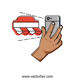 hand using smartphone with market tent
