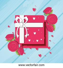 valentines day card with gift and roses