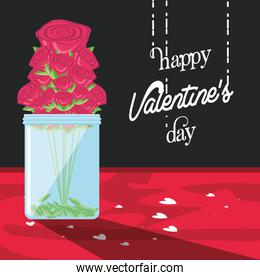 valentines day card with roses