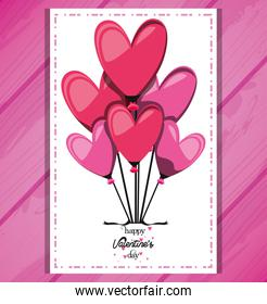 valentines day card with balloons helium