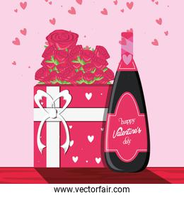 valentines day card with gift and bottle wine