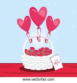 valentines day card with balloons helium and basket