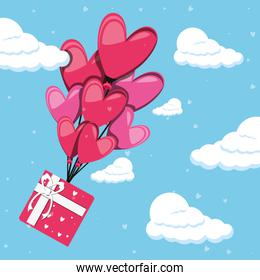 valentines day card with gift and balloons helium