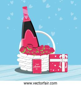 valentines day card with bottle wine and basket