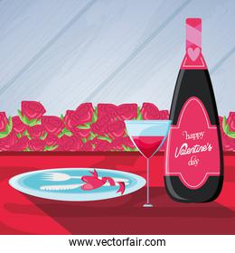 valentines day card with bottle wine and icons