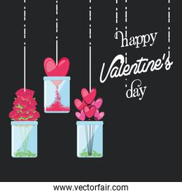 valentines day card with decoration hanging