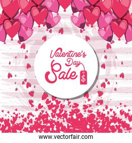 pattern of valentines day big sale with hearts
