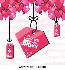 valentines day big sale with hanging label