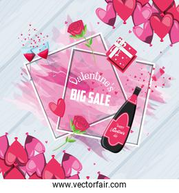 valentines day big sale with bottle wine and icons