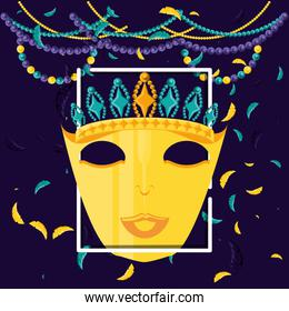 mask with crown queen of carnival celebration icon