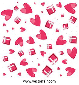 pattern of hearts with gifts
