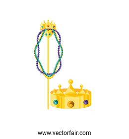 crown of king with crosier and necklaces