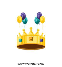 crown king with balloons helium