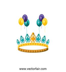 crown queen with colors balloons helium