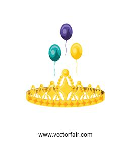crown queen with balloons helium