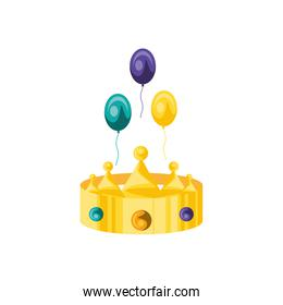 crown king with balloons helium over white