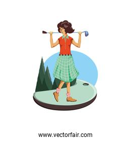 golfer woman with field and stick golf