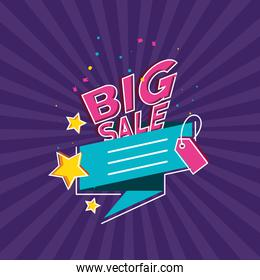 big sale label with tag and stars over purple background
