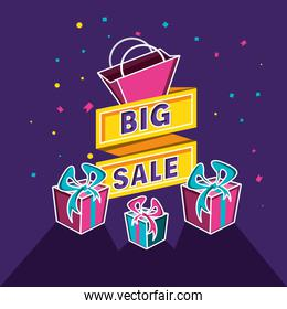 big sale label with gifts and bag shopping