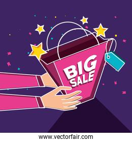 big sale label with hands and bag shopping