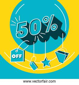 big sale label with offer and icons