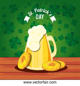 st patrick day cartel  with beer jar and coins