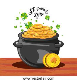 st patrick day with cauldron and coins