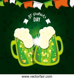st patrick day with beer jars