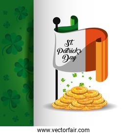 st patrick day with flag and coins