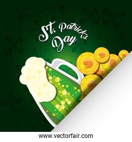 st patrick day with beer jar and coins