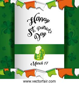st patrick day card with beer jar