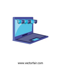 laptop computer with store parasol