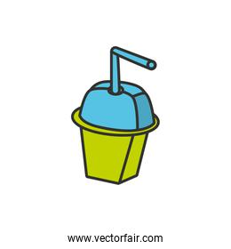 bottle beverage with straw isolated icon
