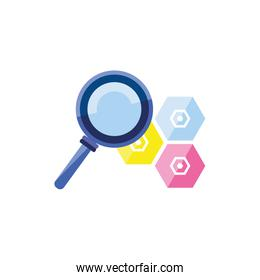 search magnifying glass with metal nuts
