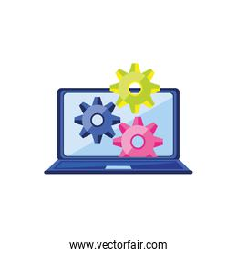 laptop computer with gears configuration