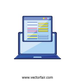 laptop computer with web page