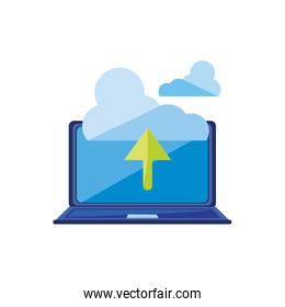 laptop computer with cloud computing and arrow up
