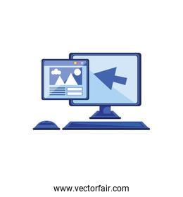 desktop computer with web page and pointer arrow