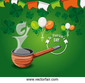 st patrick day with wooden pipe