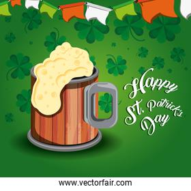 st patrick day with beer and garlands