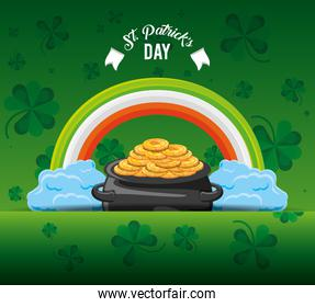st patrick day with cauldron and rainbow